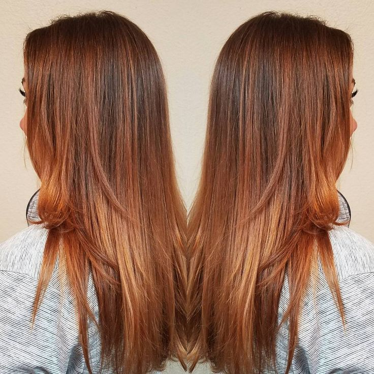 Long Angled Pumpkin Spice Colored Hair Pumpkin Colored