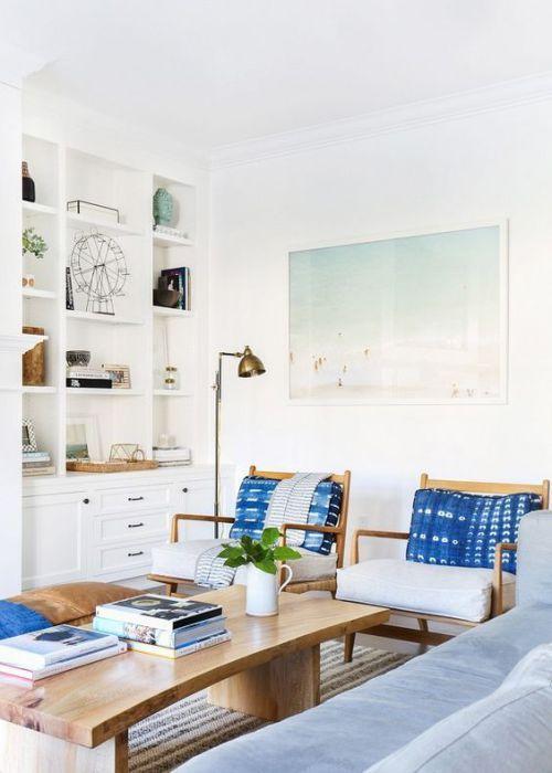 Modern coastal with hints of boho mixed into the decor