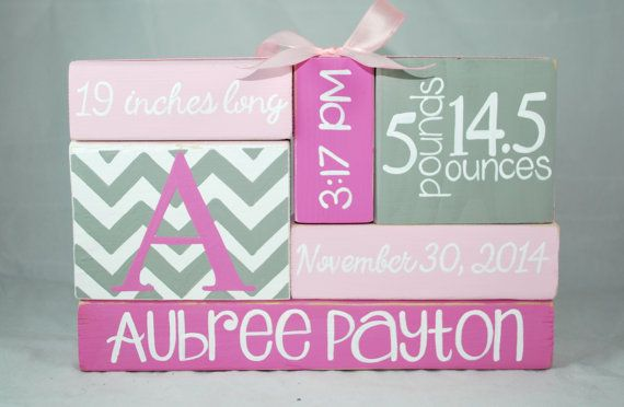 Pink Chevron Mod Nursery Baby Birth Stat WoodenBlock Shelf Sitter Stack measures approximately 9 x 6 and is wrapped in a coordinating ribbon!    What