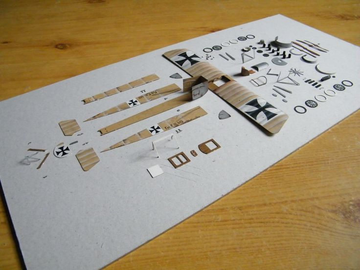 Paper model  Fokker E.III  in process of construction.