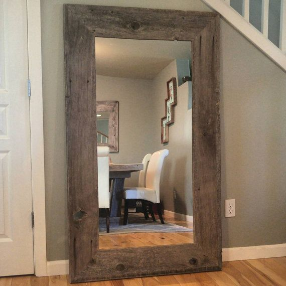 This gorgeous Reclaimed Wood Full Length Mirror was handmade using reclaimed, old fence pickets. The corners have a 30* angle on them verses a traditional 90* angle. THE 1ST AND 3RD PICS SHOW A NATURAL WOOD MIRROR. THE OTHER PICS ARE WHITEWASHED WOOD.  I can custom make a smaller sized mirror if wanted. I also can leave the wood completely natural, can add the Whitewash finish, or can add a color finish. I have done a black washed finish, or can do aqua, lagoon, pistachio, or grey. PLEASE…