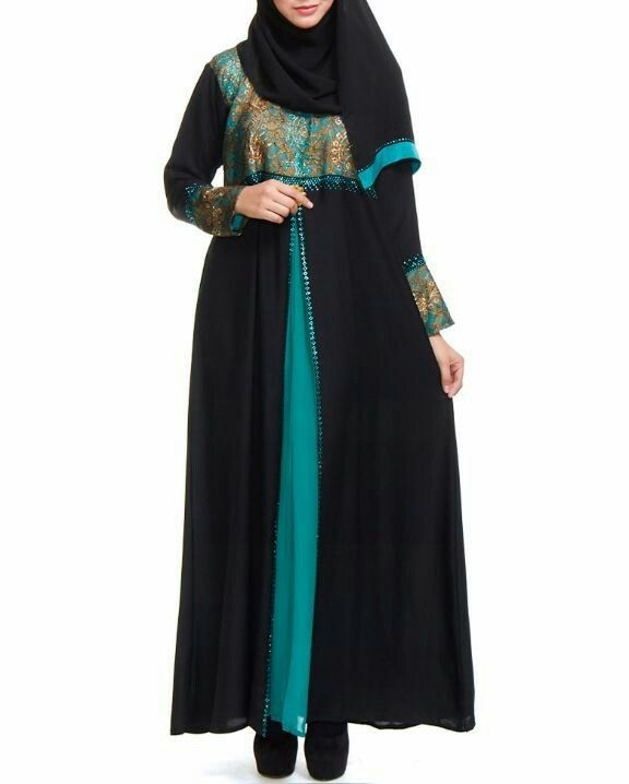Jubah abaya hitam turqoise dan lace emas pandangan depan
