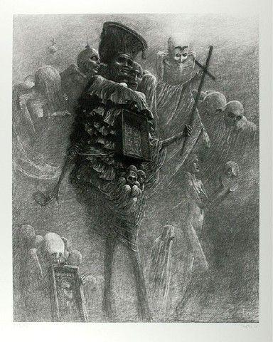 Zdzisław BEKSIŃSKI (1929 - 2005)  Bez tytułu giclee limited edition print, papier, 86,5 x 66,5 (wymiary arkusza); sygn. p.d.: Beksiński (ołówkiem); numer. l. d.: AP 9 / 50 (ołówkiem)