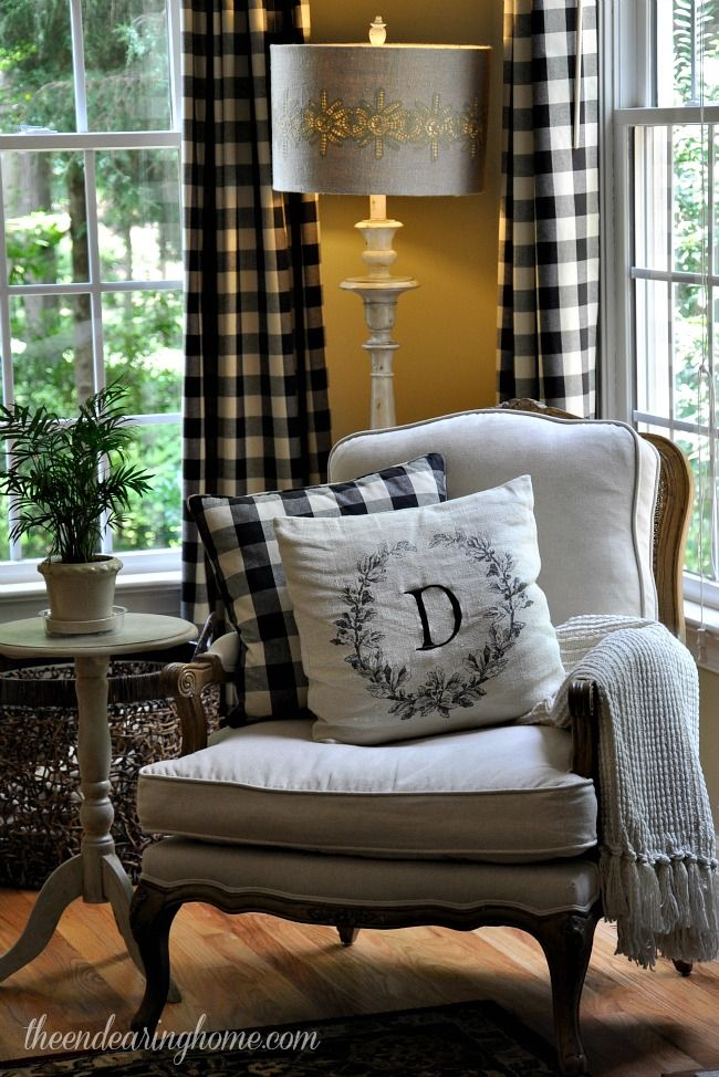 The curtains are from Calico Corners, I am either going to have to make a pair or buy them, love this check. This blog has super cute decor.
