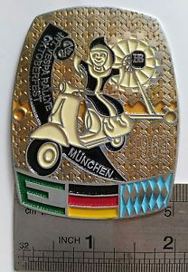 BADGE INT. VESPA CLUB MUNCHEN 1964 RALLYE PLACCA VINTAGE CLASS PLAKETTE GS 150