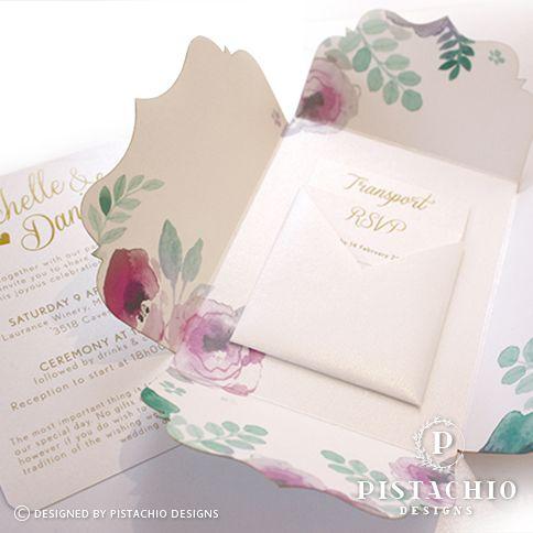 Fresh floral design wedding invitations by www.pistachiodesigns.co.za