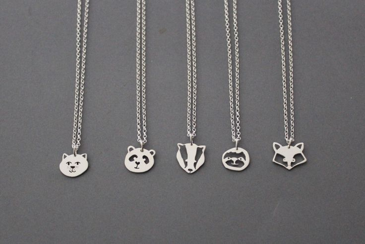 Meet cat, badger, fox and sloth.... — New! Handmade sterling silver animal pendants. Lots of animals to keep panda company.