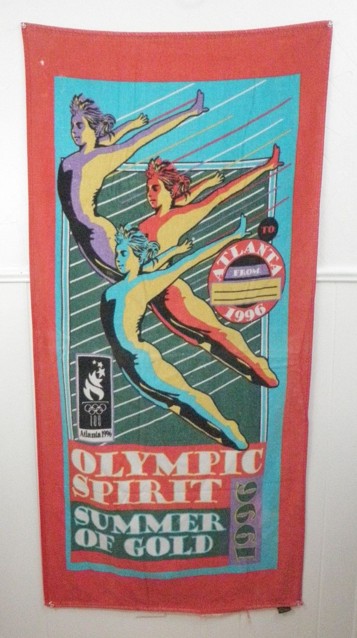 "1996 Olympics Beach Bath Towel Atlanta Postcard Summer of Gold Cannon 56"" x 26"" Gymnastics Olympic Spirit by TraSheeWomen on Etsy #1996 #Atlanta #olympics #olympicspirit #summerofgold #gymnastics #beachtowel"