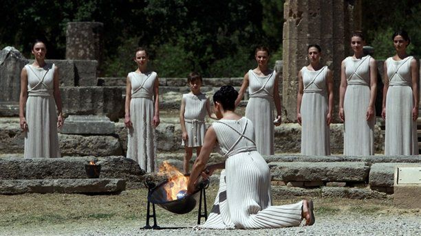 Olympic flame which will be used for the London 2012 torch relay has been lit during a ceremony in Olympia, Greece.