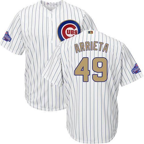 c3acca238 ... MLB Baseball Cubs 49 Jake Arrieta White(Blue Strip) 2017 Gold Program Cool  Base Stitched Youth .