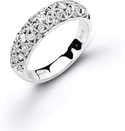 Simon G Filigree Diamond Wedding Band This By Features Pave Set Round Brilliant Cut Diamonds In An Intricate Pattern Along