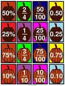 Halloween style decimals, fractions and percentages cards all in 1 (3-6). Over 140 mini cards plus templates for making a few extra of your own. 1 fraction, decimal, or percentage per card. 16 cards per A4 sheet. Suitable to print and laminate in color/ colour. A great resource for any classroom or home.