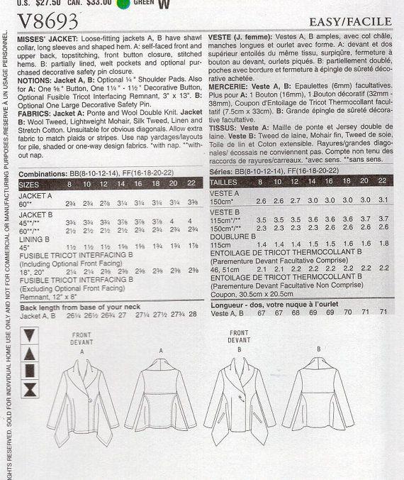 Free Us Ship Sewing Pattern Vogue 8693 Designer от LanetzLiving