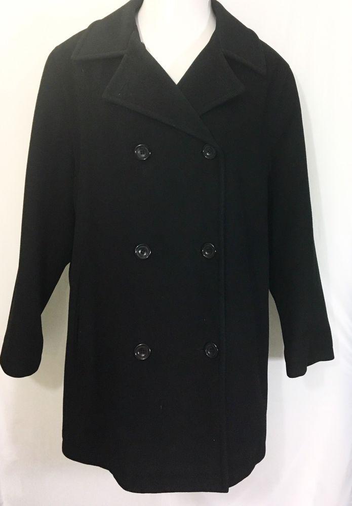 ANNE KLEIN 2 Womens Black Swing Coat | 100% Wool Lined Dbl Breasted Peacoat  #AnneKlein #Peacoat