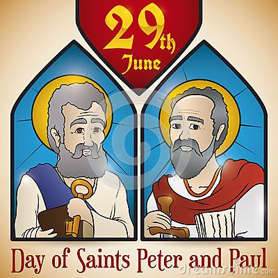 Poster with reminder date for celebration of Solemnity of Saints Peter and Paul with portraits in stained glass.