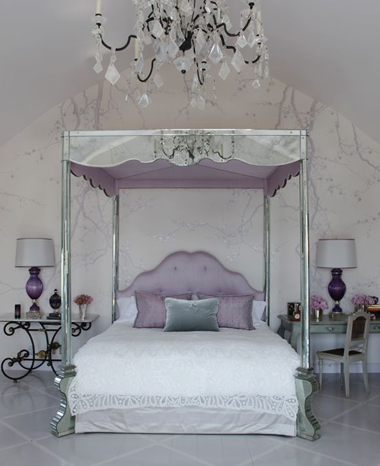 The shimmer of mirrored furniture makes this glamorous for Bedroom mirror inspiration