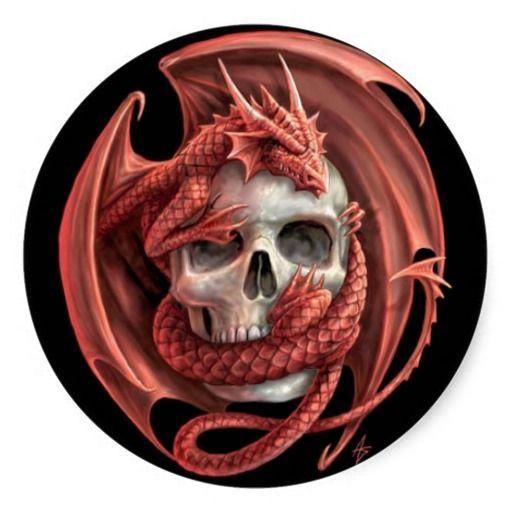 Dragon Skull Classic Round Sticker | Zazzle.com