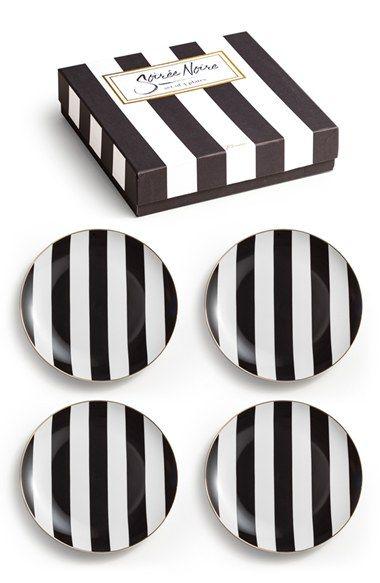 Rosanna Gold Rim Stripe Plates (Set of 4) available at #Nordstrom  sc 1 st  Pinterest & 253 best Black and White China images on Pinterest | Porcelain ...