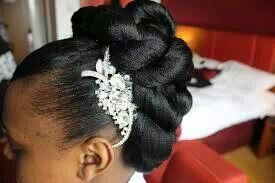 African American. Black Bride. Wedding Hair. Natural Hairstyles. Elegant protective style