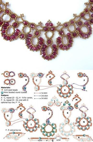 FREE beading pattern for necklace Crystal Rounds - BeadDiagrams.com