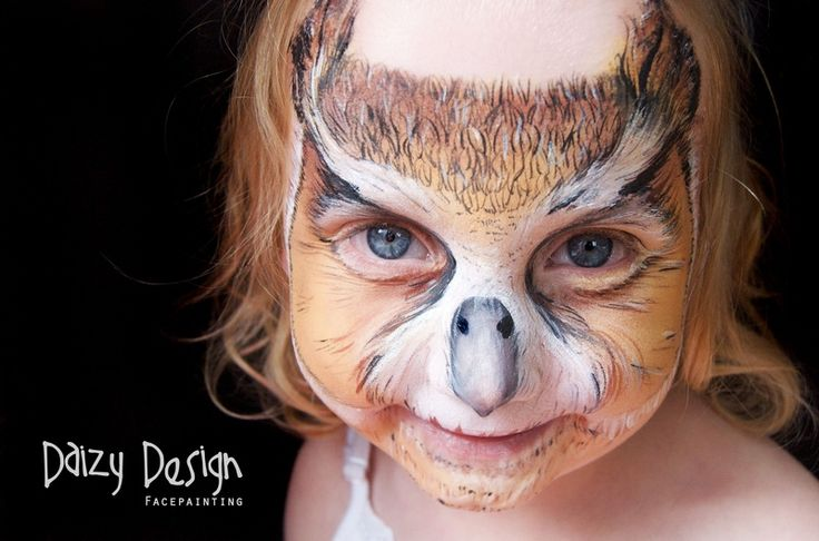 Creepy Cool Owl face paint by Daizy Design