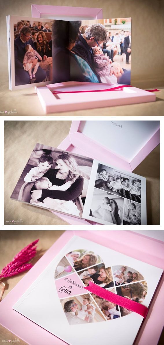 Babybook with pink touch box, the inside of the box and the cover are printed.  The Italian photographer Sonia Garbelli made this nice babybook with the #graphistudio 2D Configurator. #newborn #portraitphotography