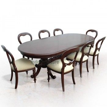 Set Meja Makan Victorian – terdiri dari 1 meja panjang berbentuk elips dan 8 kursi makan yang empuk. Kualitas produk set meja makan adalah kualitas ekspor, dari bahan kayu mahoni pilihan sehingga tetap awet hingga puluhan tahun, dikerjakan para tukang yang handal penuh ketelitian dan kerapian dalam pembuatannya.