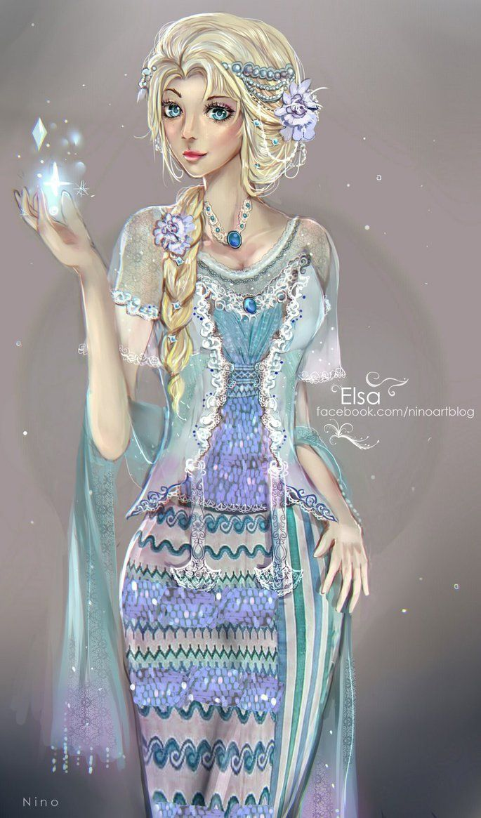 Elsa with Myanmar Traditional Dress .