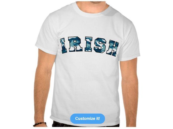 Irish Urban Camo, Style is Basic T-Shirt, color is White