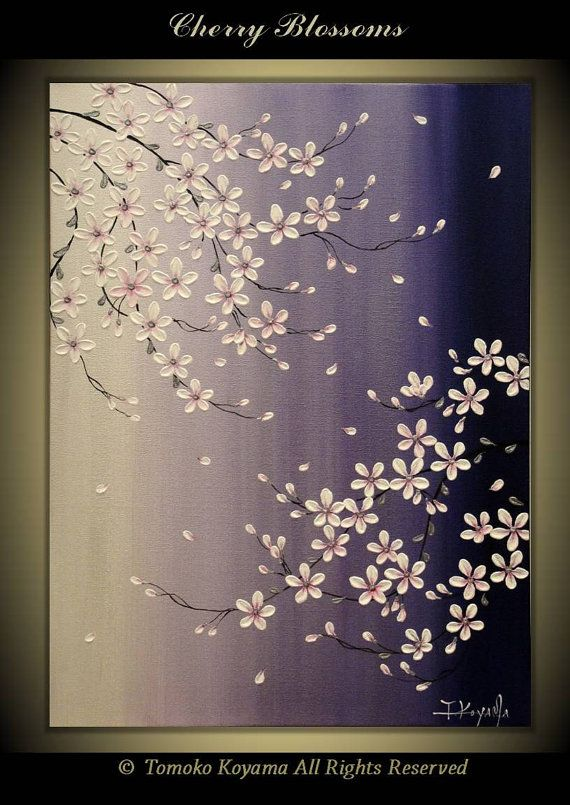 CUSTOM ORDER Original Impasto Art Painting on Canvas 18″ x 24″, Home Decor, Wall Art —Cherry Blossoms— by Tomoko Koyama