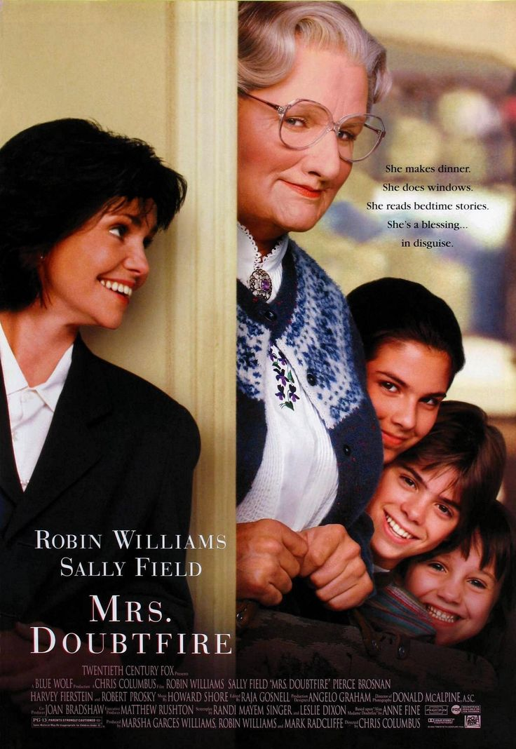 """""""Mrs. Doubtfire"""" movie poster, 1993.  Robin Williams in drag.  End of story.  $219 million earned in the United States and the second highest grossing movie for 1993."""