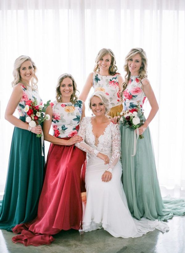 mismatched printed bridesmaid dresses / http://www.deerpearlflowers.com/mix-n-match-bridesmaid-dresses/