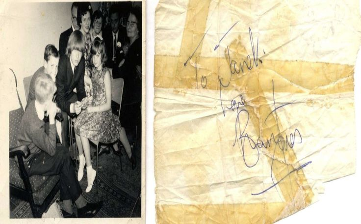 Brian Jones fan picture and autograph for Janet - 1965
