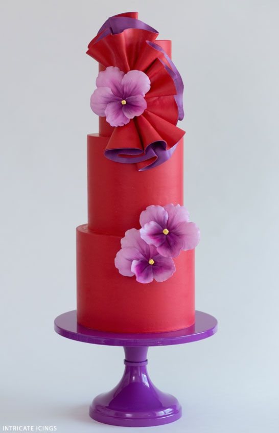 Dancing Violets   Bold Wedding Cake Inspiration   by Intricate Icings on TheCakeBlog.com