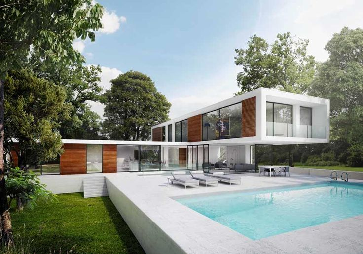 Strawberry Vale    Richmond   Private home by Dyer Grimes Architects   Contemporary white home situated on the banks of the River Thames. The open plan living areas open up to the external swimming pool and landscaping.