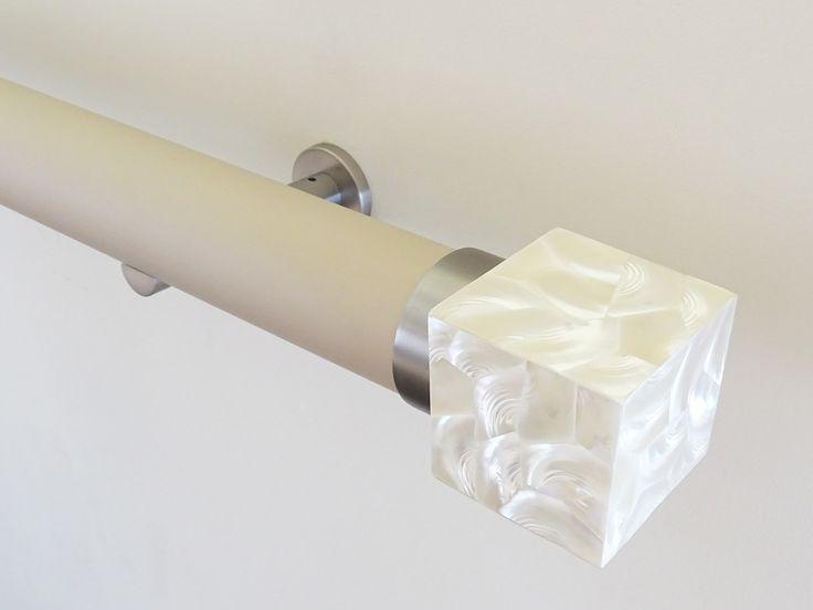 50mm Matt Lacquered pole 'mushroom' with Riva  Cube finial 'troca satin'