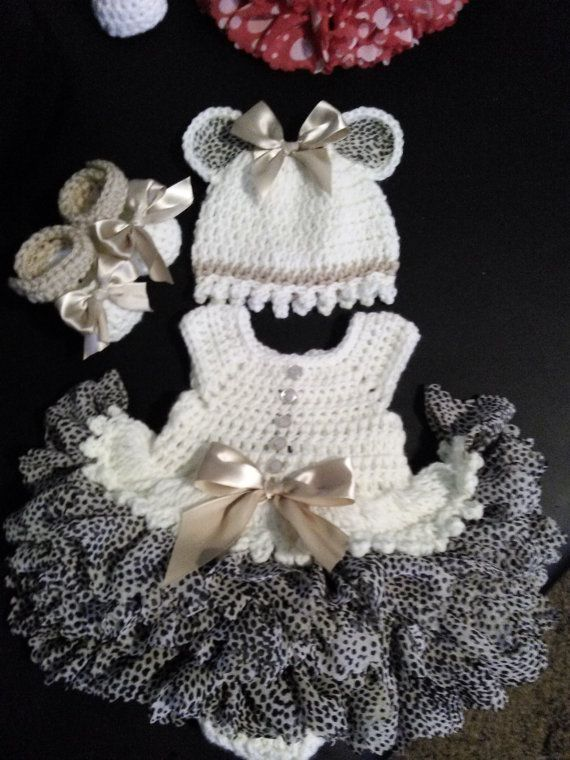 crochet antique white with white leopard print ruffles baby onsie dress.