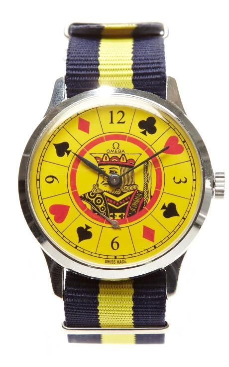 Yellow Jack Painted Face Vintage Omega Watch by CMT Fine Watch and Jewelry Advisors for Preorder on Moda Operandi
