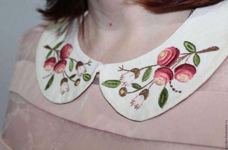 Купить воротничок с вышивкой - цветочный, съемный воротник, воротник вышитый, воротник с вышивкой, вышитые цветы