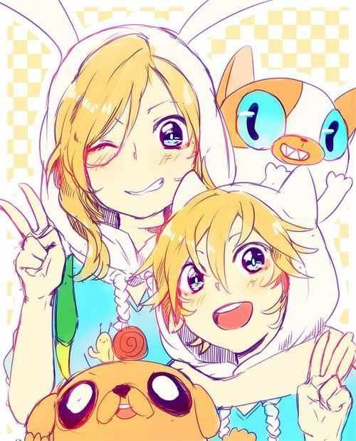 Anime+ Adventure time= win!  aww, it looks like Fionna is Finn's older sister ^_^ so cute