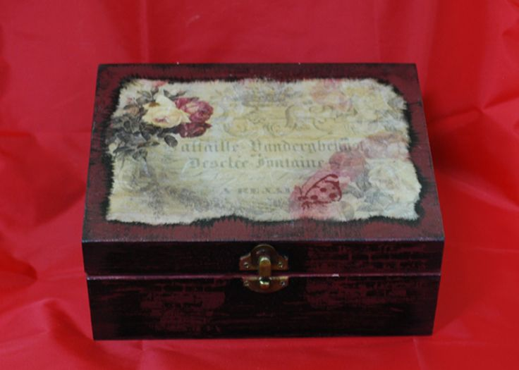 wooden box with decoupage,suitable for baptismal martyrs,birth,wedding, jewelry,mail, office organize,unique present, valet box.