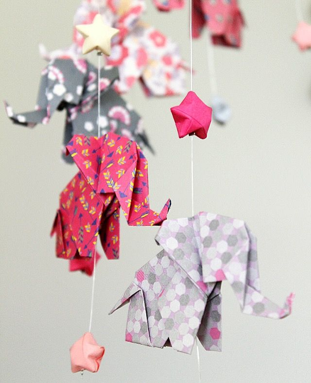 origami 12 pink elephant baby mobile and grey 24 chinese star of happiness mobiles b b. Black Bedroom Furniture Sets. Home Design Ideas