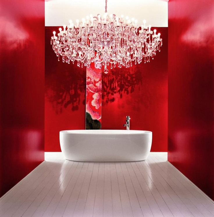 stunning red bathroom
