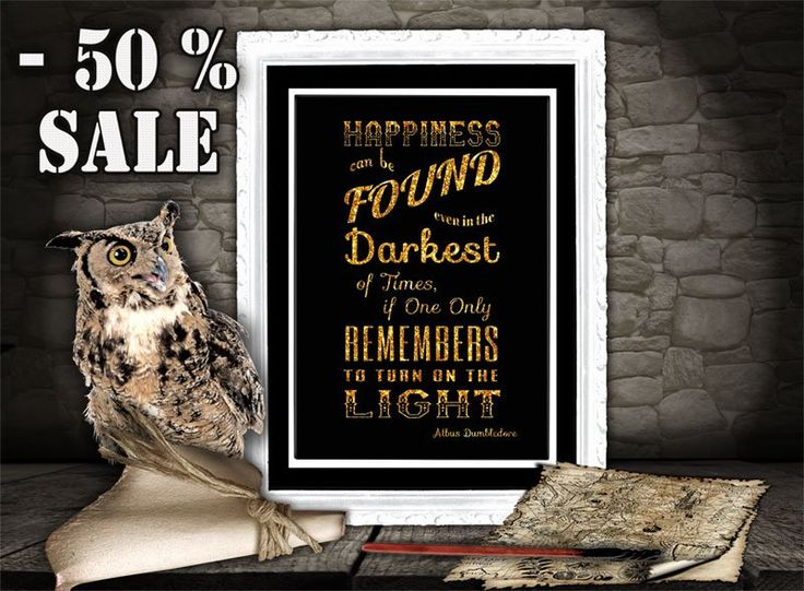 Harry Potter Dumbledore quote print - Happiness can be found - Typographic print