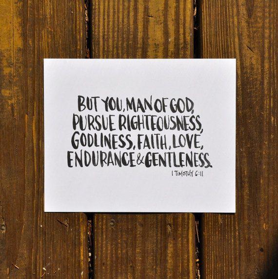 "1 Timothy 6:11; Man of God hand-lettered horizontal print; 8""x10"""