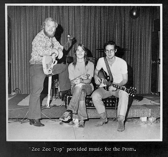 """""""Dusty Hill, Frank Beard, and Billy Gibbons (ZZ Top) playing the Senior Prom in May, 1970 at Little Cypress-Mauriceville High School in Orange, Texas."""