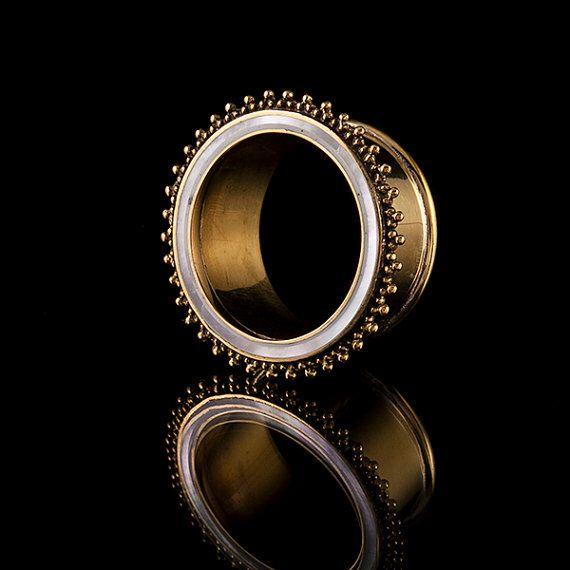 Madre di perle Shell & ottone tunnel/tappi per le orecchie, ottone, gioielli Gauge (codice 33)