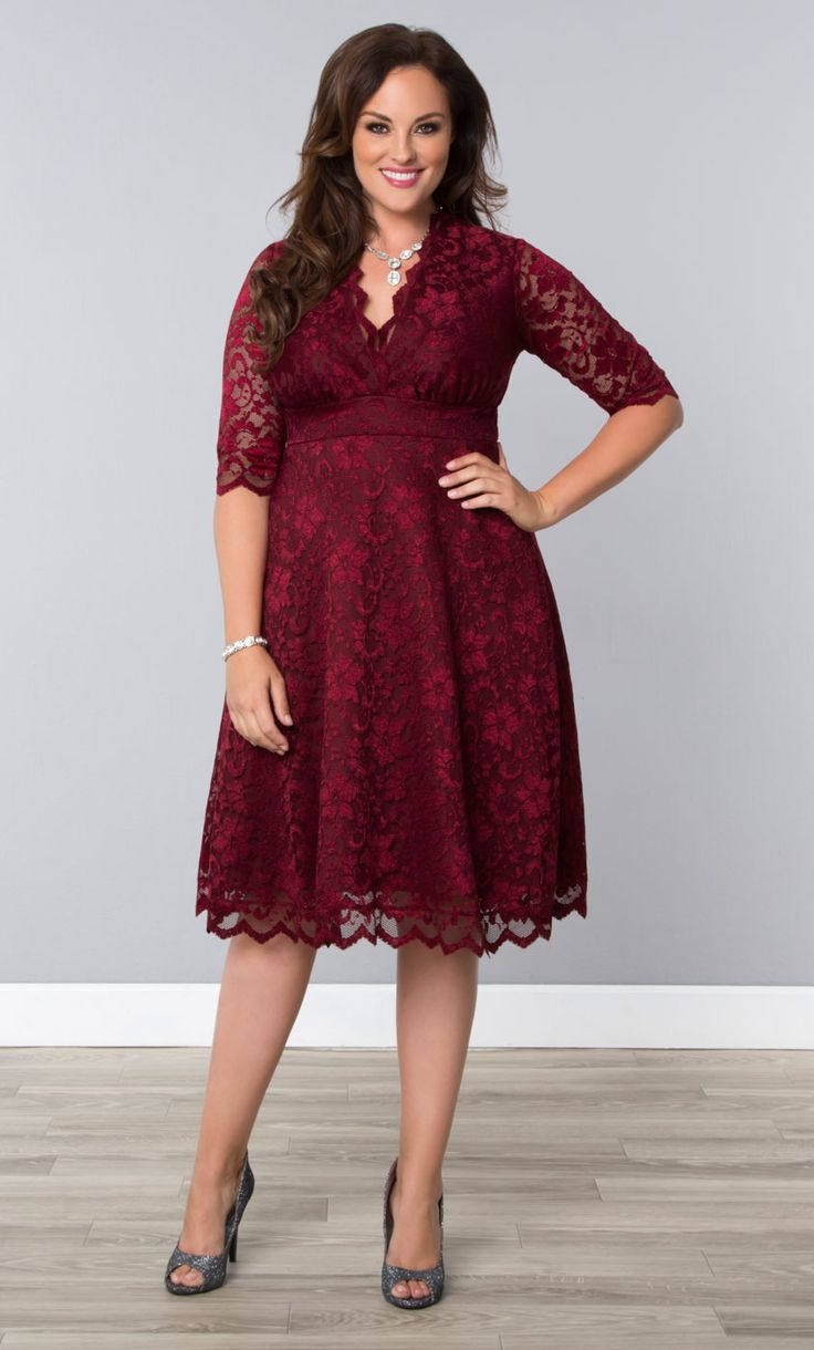 Pour a tall glass of style in our plus size Pinot Noir Mademoiselle Lace Dress.  Gorgeous scalloped lace, A-line silhouette and in a rich color; it's the perfect cocktail dress!  Shop our entire made in the USA collection at www.kiyonna.com.  #KiyonnaPlusYou