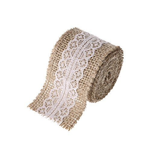Lings moment 2 Yards Natural Jute Burlap Ribbon With Lace 2 Wide for Mason Jar Decorations Chic Christmas Decor -- Check this awesome product by going to the link at the image.