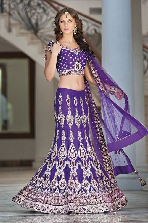 purple and Gold reception lengha